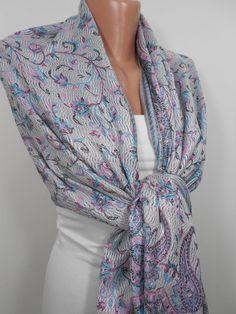 Paisley Pashmina Scarf Fall Winter Fashion Scarf by MiracleShine