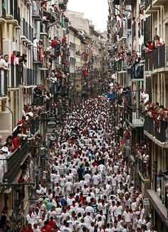 Estafeta Street, Pamplona - build up to the 'Running of the Bulls' in the Fiesta de San Fermin **** going in July -canae wait