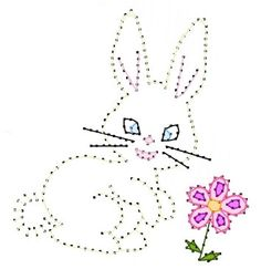 Easter Spring Bunny Paper Embroidery Pattern for Greeting by Darse, $1.50