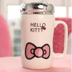 360ML Fashion Creative Cartoon Hello Kitty Cup Mugs,KT Cat Ceramic Office Cup With A Cover Cup Of Tea drinking cups tazas
