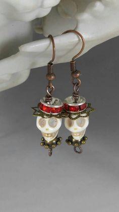 Skull earrings steampunk earrings Goth earrings Day of the Dead earrings Rockabilly earrings re Halloween Earrings, Halloween Jewelry, Holiday Jewelry, Fall Jewelry, Hippie Jewelry, Steampunk Earrings, Skull Earrings, Diy Earrings, Earrings Handmade