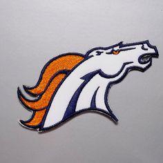 1 pc. broncos de denver horse head embroidered iron on sew on patch bagde applique chest arm shirt cap shorts