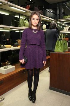 purple cropped sweater and circle skirt set + black quilted clutch + black heels