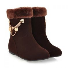 Trendy Faux Fur and Solid Color Design Women's Short Boots, BROWN, 39 in Boots   DressLily.com