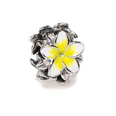 Tropical Flower Plumeria Frangipani Flower Sterling Silver Charm Bead S925, Hawaiian tropical Flower Bead, Blooming Tropical flower, Enamel Flower White & Yellow Jewellery, Pandora bracelet compatible -- Awesome products selected by Anna Churchill