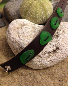 Sea glass jewelry- leather cuff with green sea glass