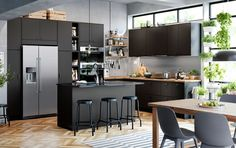 Clean energy kitchen IKEA KUNGSBACKA black kitchen cabinet door fronts are made from PET bo. Clean energy kitchen IKEA KUNGSBACKA black kitchen cabinet door fronts are made from PET bottles Black Kitchen Cabinets, Kitchen Cabinet Doors, Black Kitchens, Cool Kitchens, Open Cabinets, Black Ikea Kitchen, Ikea Kitchen Doors, Ikea Kitchens, Dark Cabinets