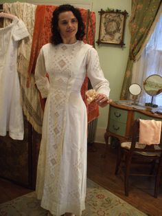 1900 HARDANGER Hand Embroidered SWEDISH WEDDING Dress. $225.00, via Etsy.