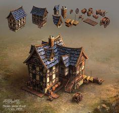 Medieval House by FerdinandLadera on DeviantArt Casa Medieval Minecraft, Medieval Houses, Medieval Art, Medieval Fantasy, Fantasy City, Fantasy Castle, 3d Fantasy, Fantasy House, Building Concept