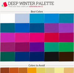 Deep Winter Palette Best and worst Deep Winter colors. Paleta Deep Winter, Deep Winter Palette, Deep Winter Colors, Winter Typ, Dark Winter, Colors For Skin Tone, Colour Pallette, Season Colors, Color Theory