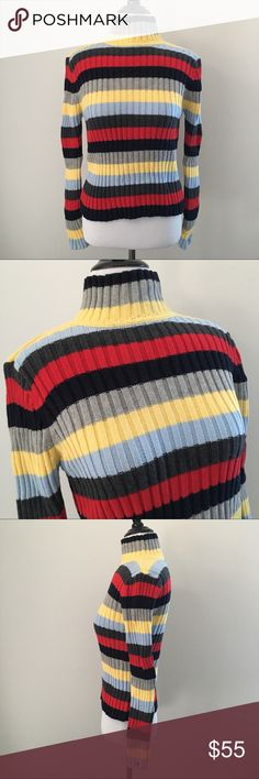 "RARE VTG 90'S TOMMY TURTLENECK SWEATER SHIRT TOP ! AMAZING COLORWAY Vintage Vtg 90's 1990 1990's Cool Navy / Red / Gray / Blue / Yellow Stripe Thick Chunky Cozy Stretchy Ribbed Knit High Mock Neck Turtleneck Fitted Snug Sweater Pullover Shirt Top.  Brand new. Never used. NO flaws.  Tagged as Women's Medium.  •Chest- 15"" across (not stretched) // 22"" across max stretched •Length (shoulder to bottom)- 20"" long  Seen modeled on: •Women's size XS •33"" chest (A/B cup) •24"" waist  100% cotton…"