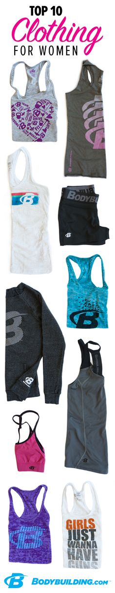 TOP 10 CLOTHING ITEMS FOR WOMEN! Stay stylish while breaking a sweat or hitting the streets. These high-performance, durable workout pieces will show your love for all things fitness—and they'll survive even your toughest supersets. We're always updating our designs, so get your hands on these beauts while you can!