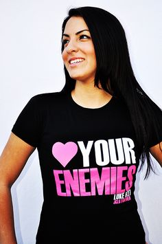 LOVE YOUR ENEMIES BLACK Christian t-shirt by JCLU Forever Christian t-shirts  $17.99