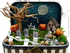 I created this little Halloween scene inside a blank Altoid sized tin from alphastamps.com     Here  is a direct link to the tins. It's pret...