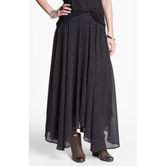 """Free people maxi skirt A cute polka dot print covers a breezy chiffon maxi skirt finished in a carefree asymmetrical hem. 34"""" length  100% polyester. Machine wash or dry clean. Navy blue and taupe dots Free People Skirts Maxi"""