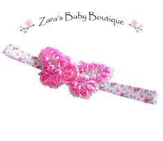 Pink Butterfly Headband, Shabby Chiffon Rose Headband, Baby, Toddler, Girl, ZBB by ZarasBabyBoutique on Etsy