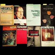 The Most Relevant Books in the Collection right now.  #GWFHegel #Hegel #HegelsPhenomenology #OutlinesOfThePhilosophyOfRight #BaruchSpinoza #Spinoza #TheEthics #SelectedLetters #Heidegger #BeingAndTime #LudwigWittgenstein #TractatusLogicoPhilosophicus #JacquesEllul #Propaganda #AnarchyAndChristianity #WilhelmReich #TheMassPsychologyOfFascism #Philosophy #Linguistics #Epistemology #Ontology #Theology #History #Politics #French #German #Classic #Literature #Books #MakeYourOwnHistory…