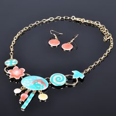 Costume Jewelry Viennois Gold Plated Charm Jewelry Set