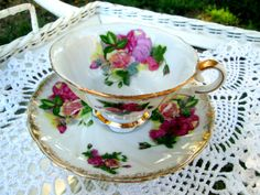 Vintage Teacup Tea Cup and Saucer Pink Roses by Holliezhobbiez, $12.00