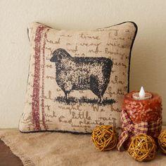 NEW Farm SHEEP PILLOW Burlap Farmhouse Primitive Country Rustic Life IN STOCK