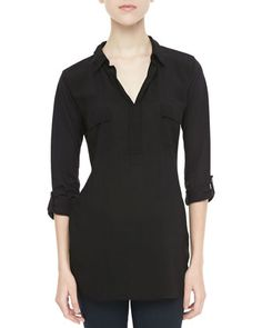 Splendid | Tab-Sleeve Shirt Tunic, Black - CUSP
