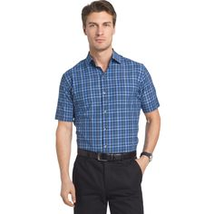Men's Van Heusen Air Wovens Classic-Fit Poplin Performance Button-Down Shirt, Size: Large, Blue Other