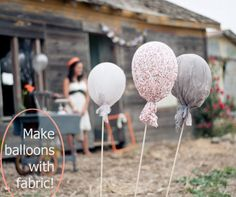 To begin blow up a balloon and measure your fabric around it. Cut fabric to size and dredge the fabric in stiffener. Hang the covered balloons from a clothing line with a thick drop cloth underneath and let dry for about forty-eight hours. Attach a long dowel or rope to the balloon base with glue and finish off with twine.
