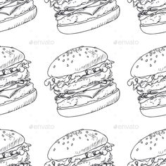 Seamless Pattern With Sketched Burger #background Download: http://graphicriver.net/item/seamless-pattern-with-sketched-burger/12521472?ref=ksioks