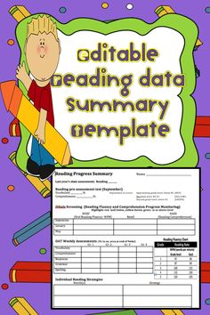 This editable reading data summary template is a word document designed to help organize reading data to guide progress monitoring, flexible grouping, and data team meetings. Also includes a parent explanation letter to be used at conference time.