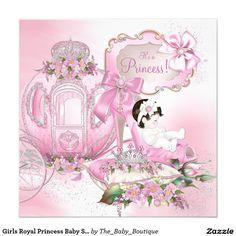 Princesa real chá de fraldas das meninas convite quadrado 13.35 x 13.35cm