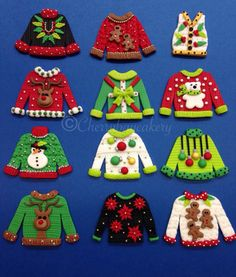 icu ~ Pin on Christmas Ornaments ~ Ugly Christmas Sweater Cupcake Toppers Fondant by CherryBayCakes Ugly Sweater Cookie, Ugly Xmas Sweater, Christmas Sweaters, Ugly Christmas Sweater Images, Holiday Sweater, Felt Christmas Ornaments, Christmas Crafts, Christmas Decorations, Christmas Lights