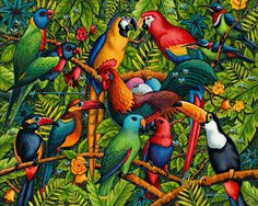 Birds of a Feather   by Eric Dowdle   This vibrant painting brings the essence of the tropical rainforest to life. Can you hear the buzzing and the chattering? The rooster seems to be proud that he is the center of attention. What is he doing in the trees with a bunch of tropical birds? ~ Fine Art Print