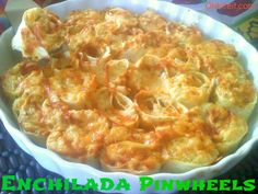 Chicken Enchilada Pinwheels- Pull apart yourself a warm, cheesy Enchilada Pinwheel and savor a crispy, spicy main course meal all in one bite!