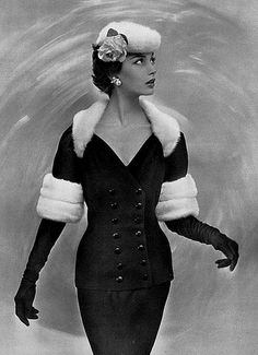 Black wool cocktail suit trimmed in white mink, by Jacques… | Flickr Vintage Chic, Vintage Glamour, Vintage Fur, Vintage Vogue, Vintage Items, Jacques Fath, 1950s Fashion, Vintage Fashion, Club Fashion