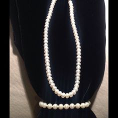 Classic and Simple Pearl Necklace and Bracelet Simple pearl necklace and bracelet set. Pearls are not real, slightly worn.  Will not sell separately.  No trades. Jewelry Necklaces