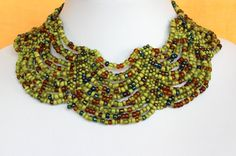 Ethnic Beaded Multi Color Necklace Choker Collar. by MapenziGems, $69.50