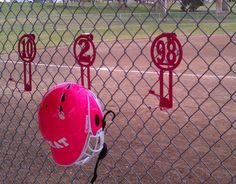 Softball equipment/helmet organizer hangers
