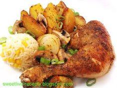 labužnícke kuracie stehná Poultry, Food And Drink, Treats, Chicken, Dinner, Vegetables, Cooking, Health, Kitchens