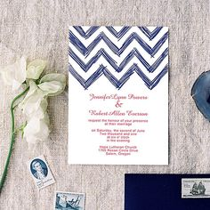 Navy Blue Nautical Chevron Summer Wedding Invitations IWI282 as low as $0.94