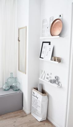 shelving ideas..... Could mount brackets then use planks of wood as shelves