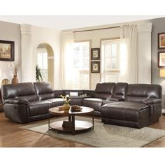 ufe robinson sectional sofa with recliner chaise console wcup holders bubble leather brown home furnishings pinterest cup holders recliner and