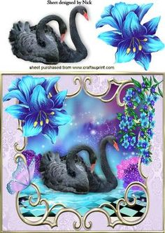 BLACK SWAN WITH FANTASY FLOWERS AND BUTTERFLY 8X8 on Craftsuprint - Add To Basket!