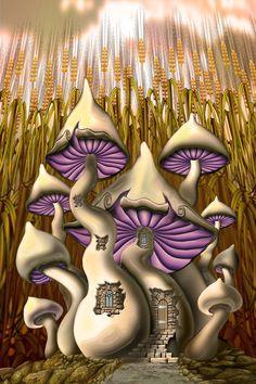 "Mushroom House-i ""Fantafunghi"" di ⓛⓤⓐⓝⓐ Mushroom Drawing, Mushroom Art, Mushroom House, Fantasy Landscape, Fantasy Art, Oil Painting App, Art Fantaisiste, Hippie Art, Fairy Art"