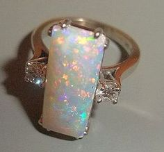 My birthstone.   An Exceptional Opal & Diamond Ring, 14K White Gold - Vintage