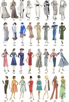 Fashion infographic : While students compare fashion and every day life they can look at this. - Fashion infographic : While students compare fashion and every day life they can look at this photo - Vintage Clothing, Vintage Dresses, Vintage Outfits, Women's Clothing, 1920 Outfits, 60s Dresses, 1920s Fashion Dresses, Oscar Dresses, Vintage Sewing
