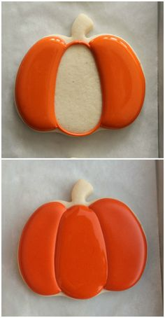 Looking for an easy and impressive autumn cookie design? Try decorated pumpkin cookies. To make these cookies you will need: Pumpkin orange piping and Thanksgiving Cookies, Fall Cookies, Cut Out Cookies, Iced Cookies, Cute Cookies, Sugar Cookies Recipe, Cookies Et Biscuits, Holiday Cookies, Pumpkin Sugar Cookies Decorated