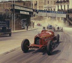 GP Monaco 1932 , Alfa Romeo Monza #28 , Driver Tazio Nuvolari , winner first place overall.