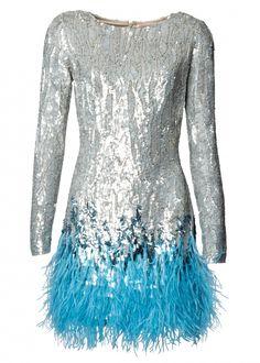 Silver Liquid Sequin Feather Trimmed Mini Dress - Dresses - Matthew Williamson