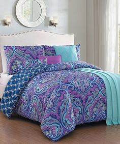 Take a look at this Blue & Purple Cantara Seven-Piece Comforter Set today!