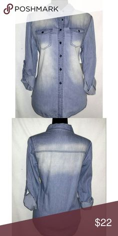 White Fade Chambray Shirt White Fade Chambray Shirt with 2 breast pockets. Cotton material. Tops Button Down Shirts